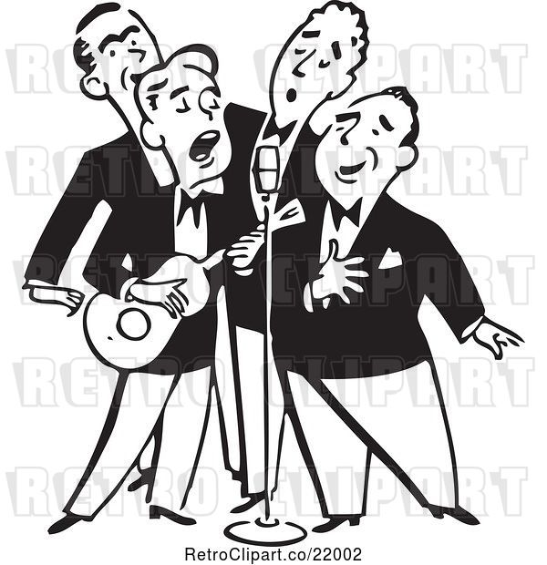 Vector Clip Art of Quartet of Singing Men with a Banjo
