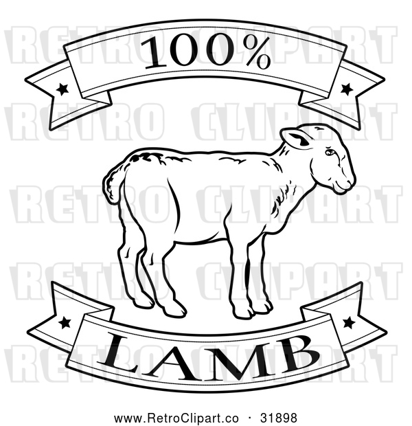 Vector Clip Art of Retro 100 Percent Lamb Food Banner - Black and White Version