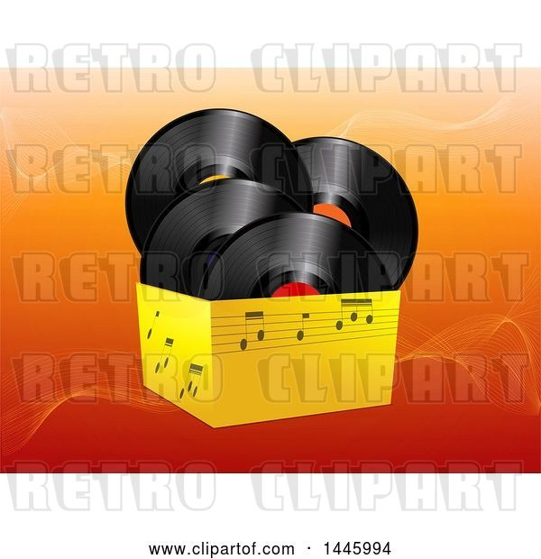 Vector Clip Art of Retro 3d Box of Music Notes and Vinyl Record Albums over Orange Waves