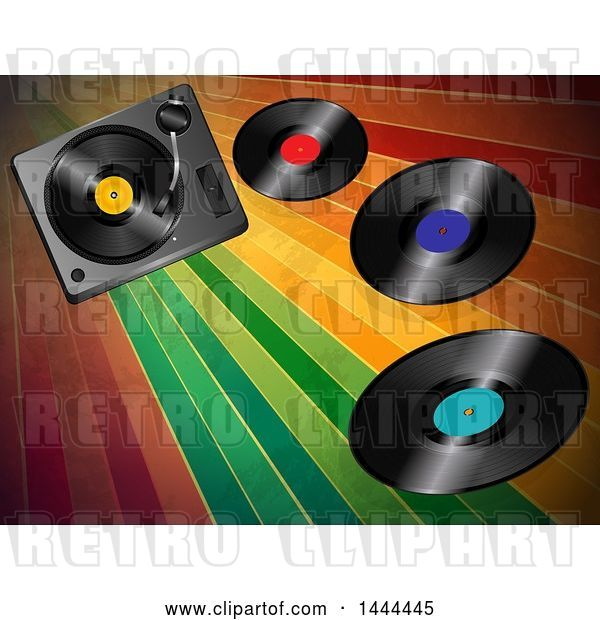 Vector Clip Art of Retro 3d Music Turntable Deck and Vinyl Records over Colorful Stripes