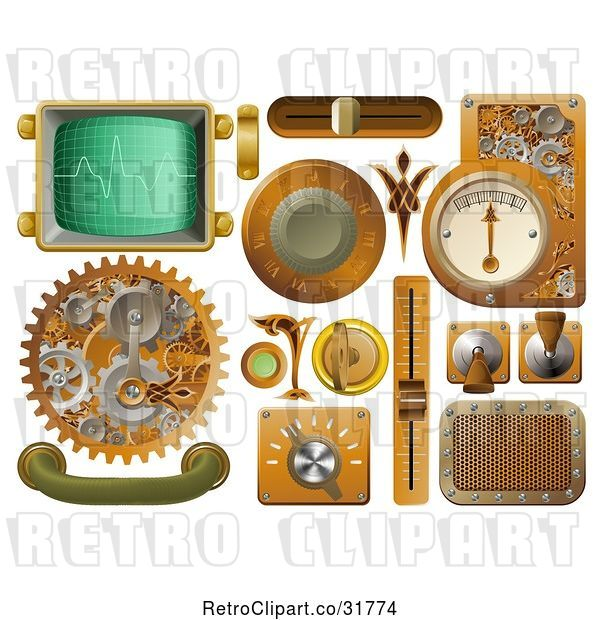 Vector Clip Art of Retro 3d Steampunk Styled Handles Knobs Screens and Switches