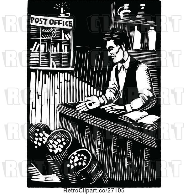 Vector Clip Art of Retro Abraham Lincoln Working at His General Store