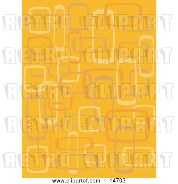 Vector Clip Art of Retro Abstract Orange Background with Boxes Clipart Illustration