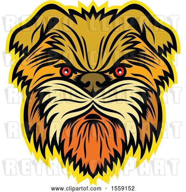 Vector Clip Art of Retro Aggressive Affenpinscher Monkey Terrier Dog