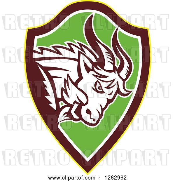 Vector Clip Art of Retro Aggressive Mountain Goat Ram in a Yellow Brown White and Green Shield