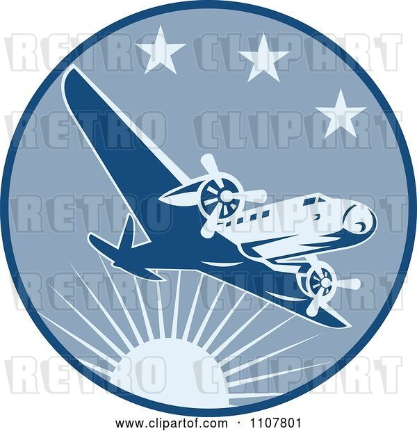 Vector Clip Art of Retro Airplane Flying in a Blue Circle with Sun and Stars