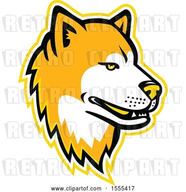 Vector Clip Art of Retro Akita Dog Mascot Head