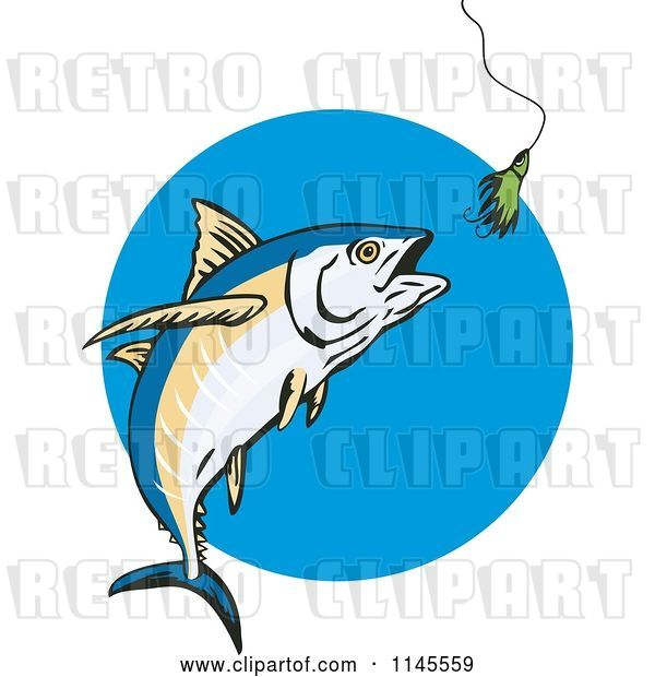 Vector Clip Art of Retro Albacore Tuna Fish Chasing a Lure 2