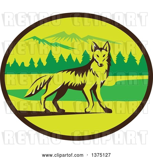 Vector Clip Art of Retro Alert Coyote in a Mountains and Woods Oval