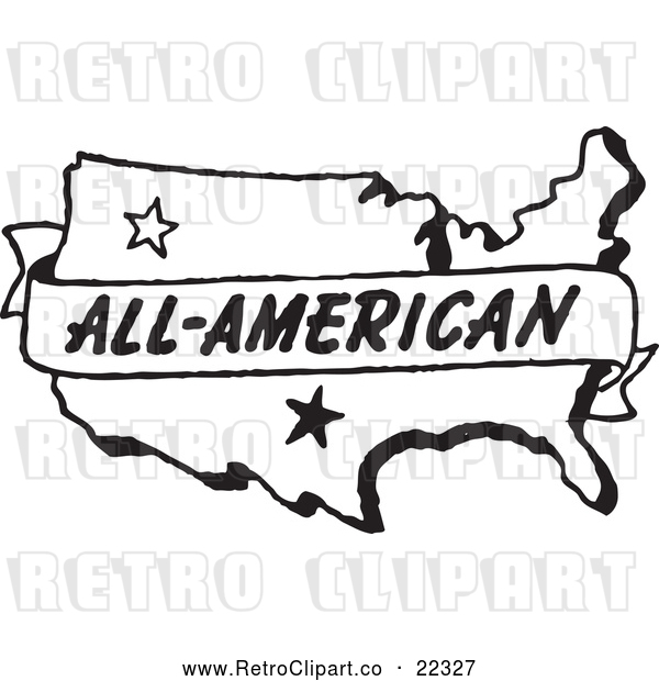 Vector Clip Art of Retro All American Banner over a Map