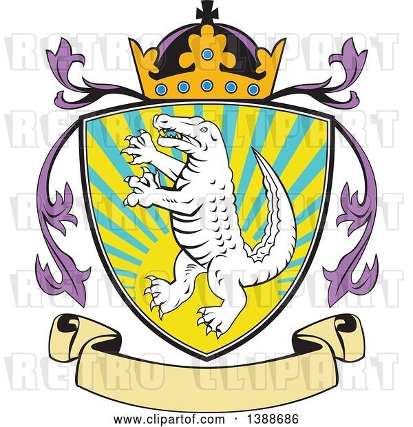Vector Clip Art of Retro Alligator or Crocodile Coat of Arms Shield with a Crown and Blank Banner