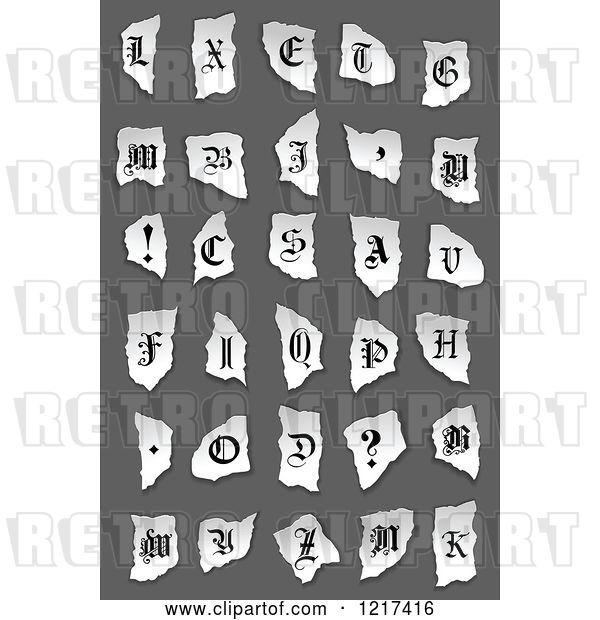 Vector Clip Art of Retro Alphabet Letters and Symbols on Torn Paper over Gray