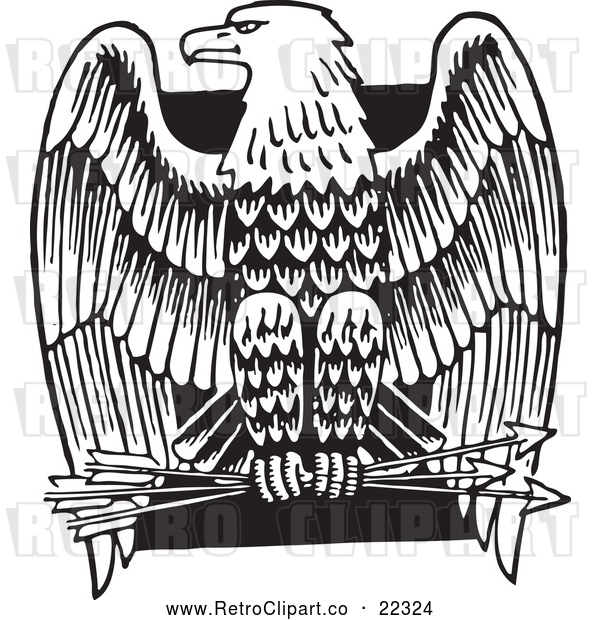 Vector Clip Art of Retro American Bald Eagle with Arrows over a Black Square