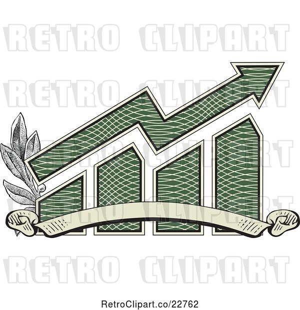 Vector Clip Art of Retro American Dollar Themed Bar Graph and Growth Arrow with a Blank Banner and Branches