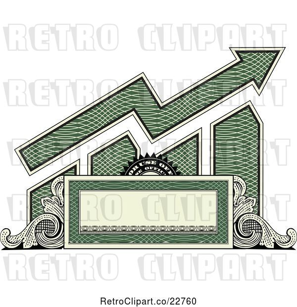 Vector Clip Art of Retro American Dollar Themed Bar Graph and Growth Arrow with a Blank Banner, Frame and Scrolls