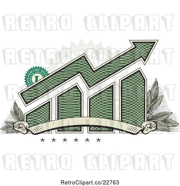 Vector Clip Art of Retro American Dollar Themed Bar Graph and Growth Arrow with a Blank Banner, Stars, Stamp and Leaves