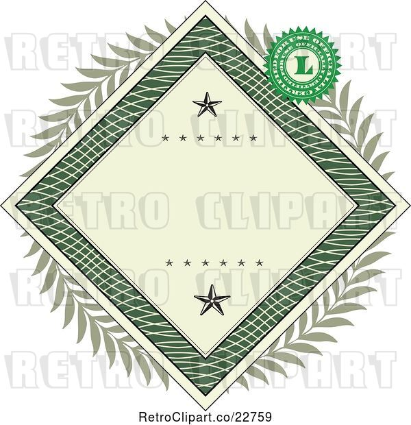 Vector Clip Art of Retro American Dollar Themed Diamond Frame with Stars, a Laurel Wreath and Stamp