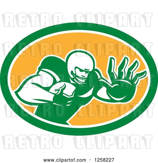 Vector Clip Art of Retro American Football Player Fending off in a Green White and Orange Oval