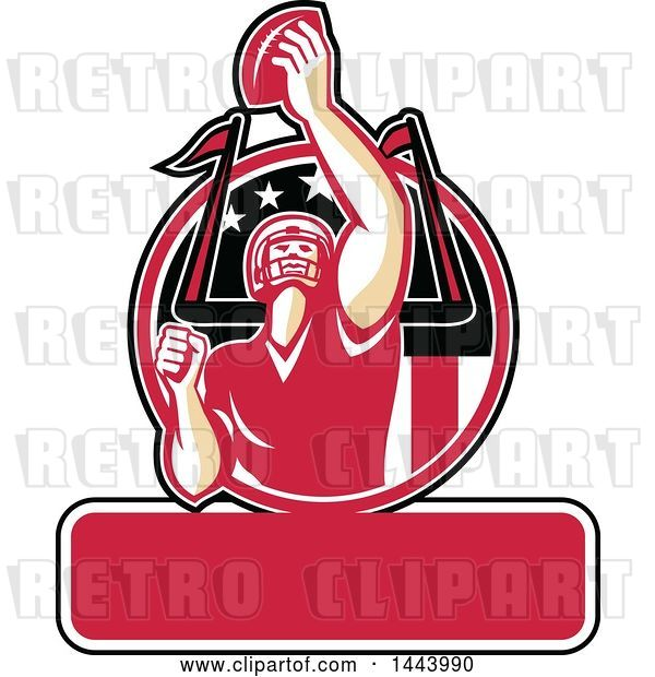 Vector Clip Art of Retro American Football Player Holding up a Ball for Super Bowl LI in a Red Circle over Text Space