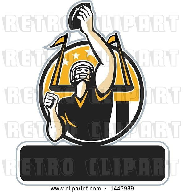 Vector Clip Art of Retro American Football Player Holding up a Ball with Text Space for Super Bowl LI in a Black Yellow and White Circle