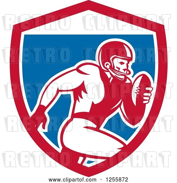 Vector Clip Art of Retro American Football Player Running in a Shield