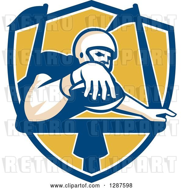 Vector Clip Art of Retro American Football Player Scoring a Touchdown in a Blue White and Yellow Shield