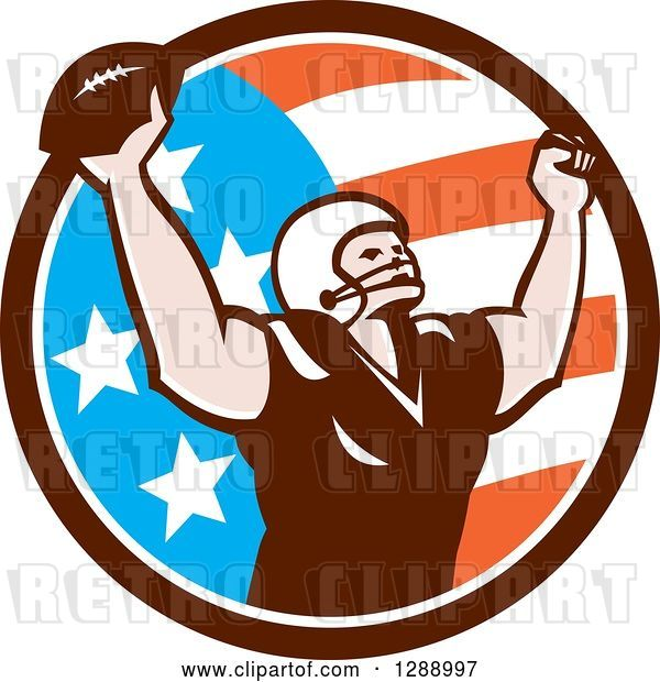 Vector Clip Art of Retro American Football Player Scoring a Touchdown in an American Circle