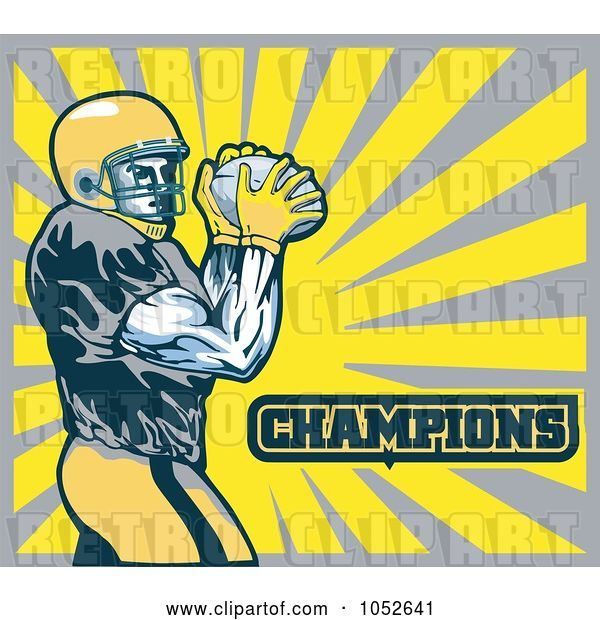 Vector Clip Art of Retro American Football Player with Champions Text Against Yellow and Gray Rays