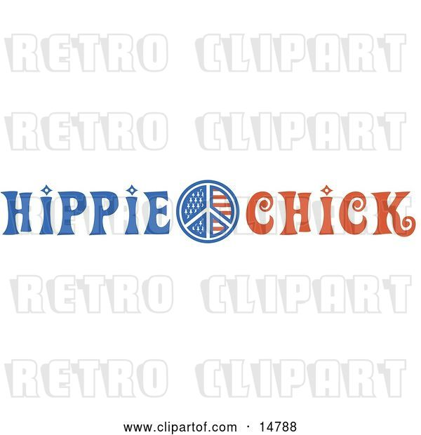 Vector Clip Art of Retro American Hippie Chick Sign
