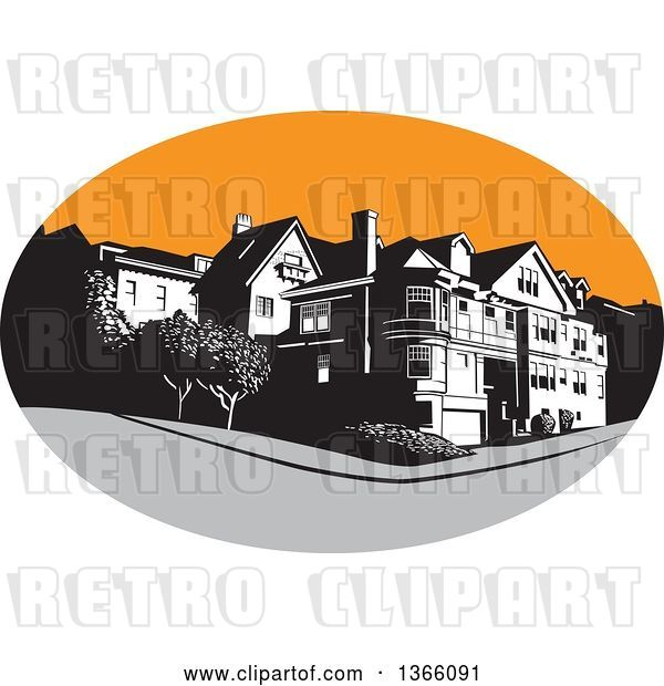 Vector Clip Art of Retro American Mansion House in a Gray and Orange Oval
