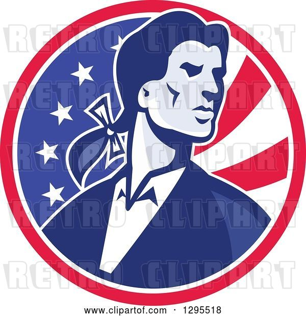 Vector Clip Art of Retro American Patriot Minuteman Revolutionary Soldier in an American Circle