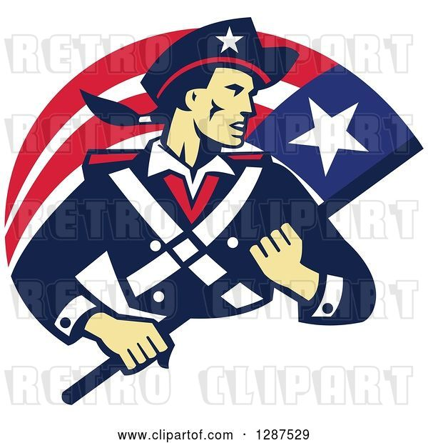 Vector Clip Art of Retro American Patriot Minuteman Revolutionary Soldier with a Flag Banner