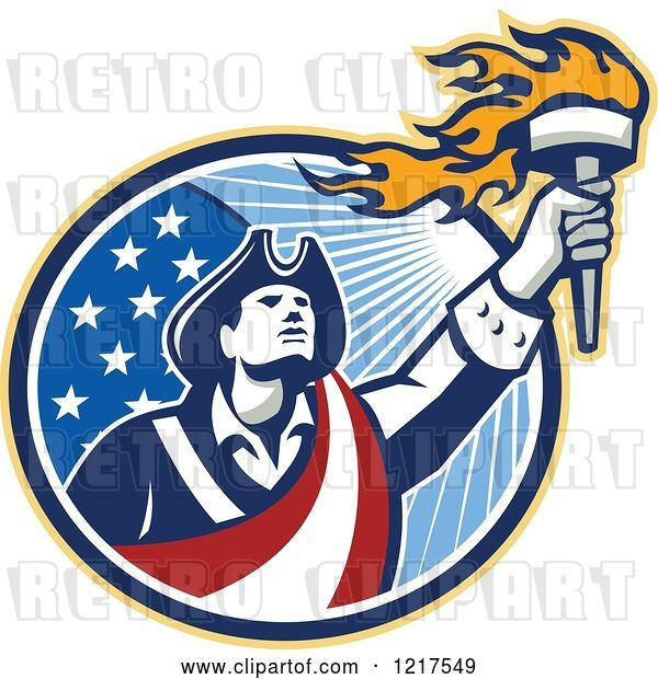 Vector Clip Art of Retro American Patriot Soldier Holding a Torch over a Circle
