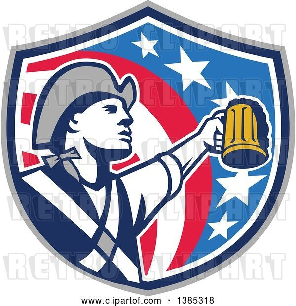 Vector Clip Art of Retro American Patriot Soldier Toasting with a Beer in an American Shield