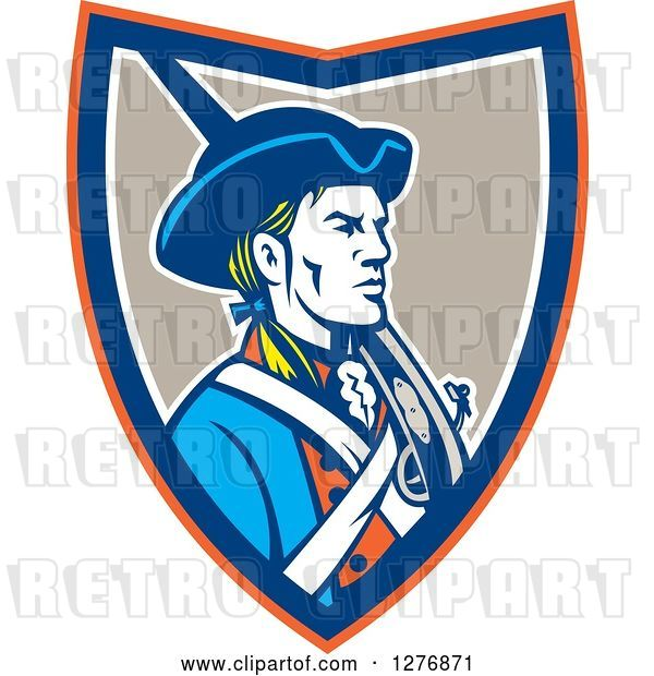 Vector Clip Art of Retro American Patriot Soldier with a Musket in an Orange Blue White and Taupe Shield