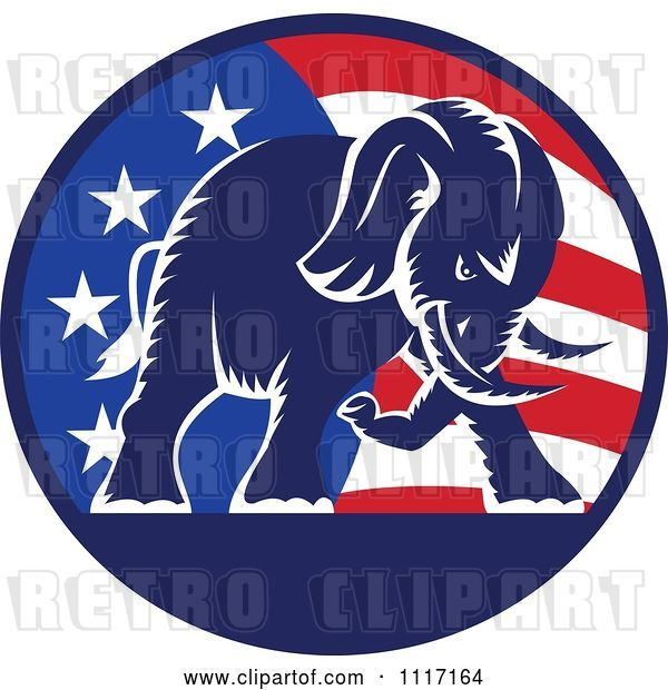 Vector Clip Art of Retro American Republican Political Party Elephant over an American Circle 1