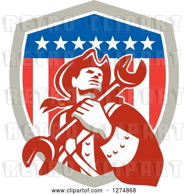 Vector Clip Art of Retro American Revolutionary Patriot Soldier Mechanic Guy Holding a Spanner Wrench in a Shield
