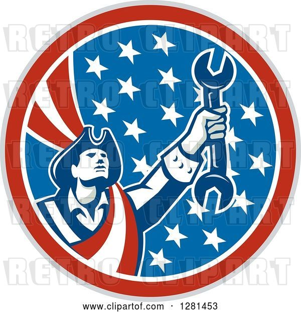 Vector Clip Art of Retro American Revolutionary Patriot Soldier Mechanic Holding a Spanner Wrench in a Patriotic Circle