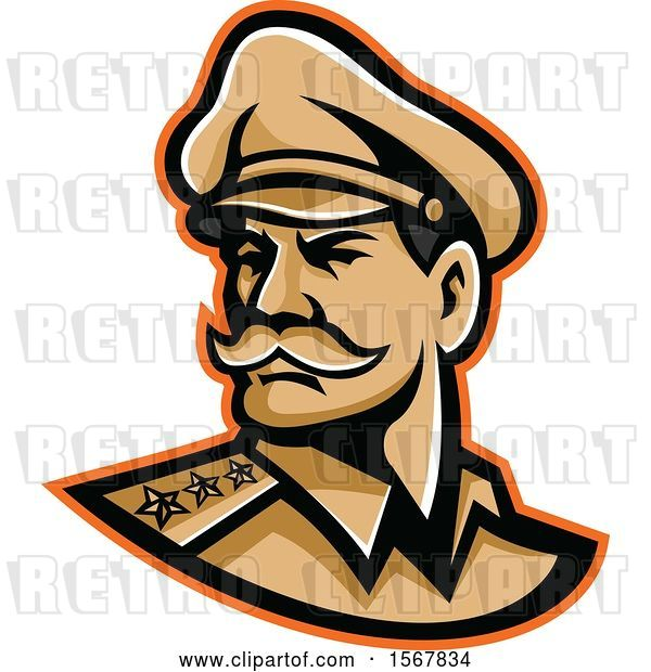 Vector Clip Art of Retro American Three Star General Wearing a Peaked Cap