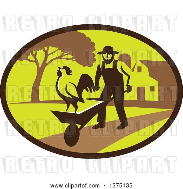 Vector Clip Art of Retro Amish Farmer Guy Pushing a Wheelbarrow with a Crowing Rooster on a Farm Within an Oval