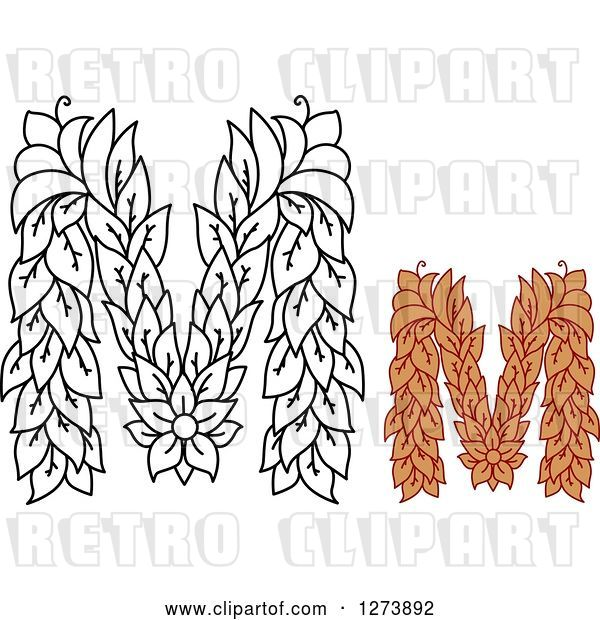 Vector Clip Art of Retro and Colored Floral Capital Letter M Designs