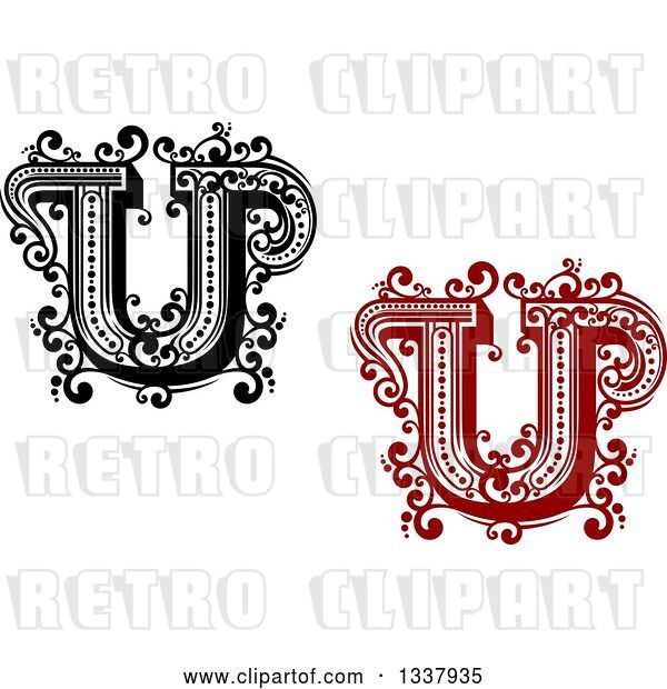 Vector Clip Art of Retro and Red Capital Letter U with Flourishes