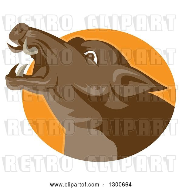 Vector Clip Art of Retro Angry Brown Boar Head in an Orange Oval