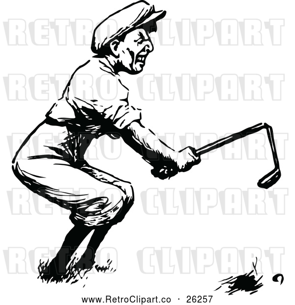 Vector Clip Art of Retro Angry Golfer Breaking a Club