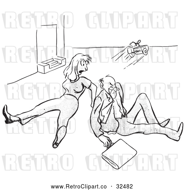Vector Clip Art of Retro Angry Man and Woman After Tripping over a Toy Black and White