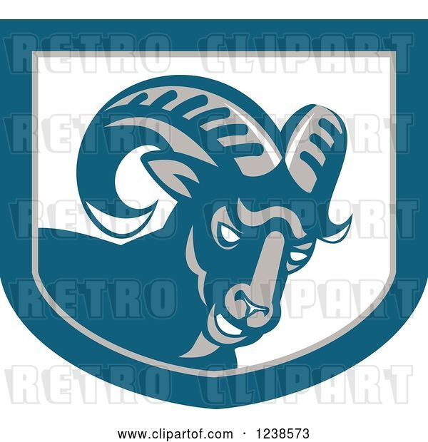 Vector Clip Art of Retro Angry Ram Goat in a Shield