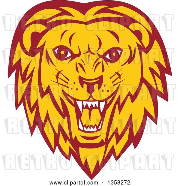 Vector Clip Art of Retro Angry Roaring Male Lion Face