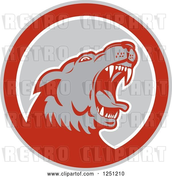 Vector Clip Art of Retro Angry Wolf in a Gray and Red Circle