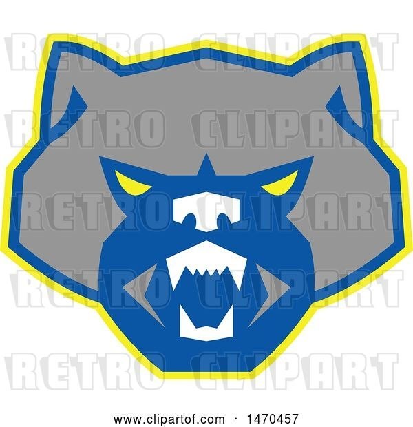 Vector Clip Art of Retro Angry Wolverine Face in Gray Blue and Yellow