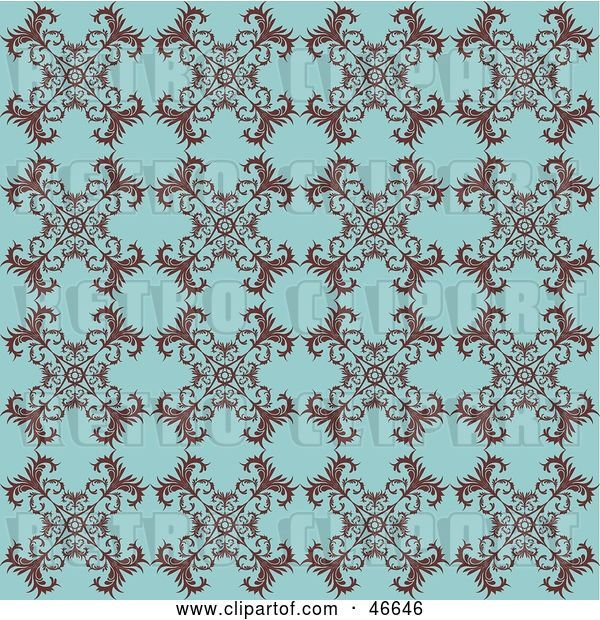 Vector Clip Art of Retro Antique Blue Background with a Floral Pattern